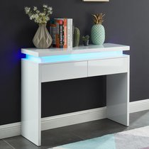 Console 2 tiroirs 100x35x80 cm blanc avec led - COSMO