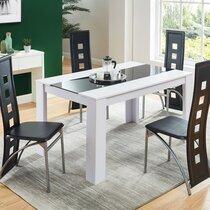 Ensemble table à manger 140 cm et 4 chaises en métal noir
