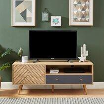 Meuble TV 1 porte 1 tiroir 130x39,5x50 cm naturel et gris