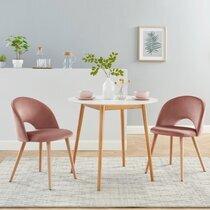 Lot de 2 chaises repas en velours rose et pieds en bois