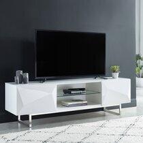 Meuble TV 2 portes160x41,8x48 cm blanc laqué brillant