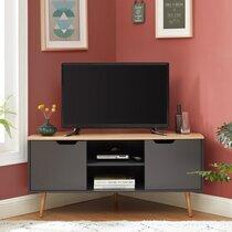 Meuble TV d'angle 2 portes 115 cm anthracite et naturel