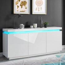 Buffet 3 portes 170x40x75 cm blanc laqué brillant avec led - COSMO