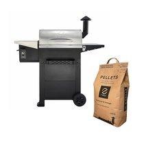 Barbecue aux pellets en acier noir et gris avec 1 sac - TAVOLA