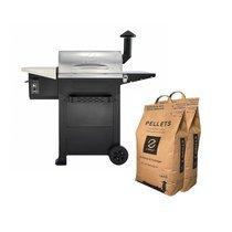 Barbecue aux pellets en acier noir et gris avec 2 sacs - TAVOLA