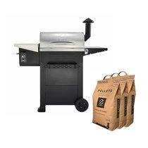 Barbecue aux pellets en acier noir et gris avec 3 sacs - TAVOLA