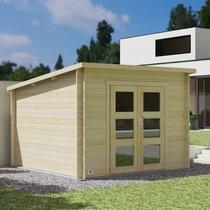 Abri de jardin 2 portes 8,90 m2 en madrier à emboiter - SCHELTY