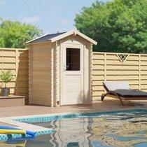 Abri de jardin 1 porte 2,20 m2 en madriers à emboiter