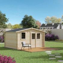 Abri de jardin 2 portes 1 fenêtre 11,90 m2 en madriers à  emboiter