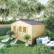 Abri de jardin 2 portes 11,06 m2 en madriers à emboiter - ONEGA