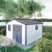 Abri de jardin 2 portes 13,78 m2 en madriers à emboiter - ONEGA
