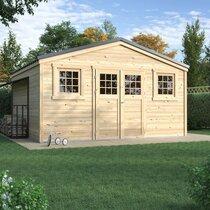 Abri de jardin 2 portes 17,70 m2 en madriers à emboiter - ONEGA
