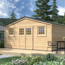 Abri de jardin 2 portes 19,67 m2 en madriers à emboiter - ONEGA