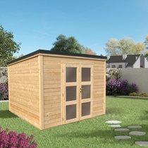 Abri de jardin 2 portes vitrées 9,24 m2 en madriers à emboiter marron