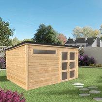 Abri de jardin 2 portes vitrées 11,06 m2 en madriers à emboiter marron