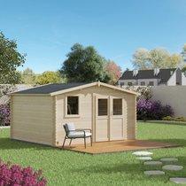 Abri de jardin 2 portes 1 fenêtre 13,90 m2 en madriers à emboiter