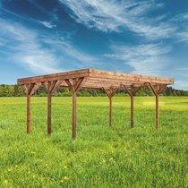 Double carport 604x511x246 cm en pin marron et toit polycarbonate