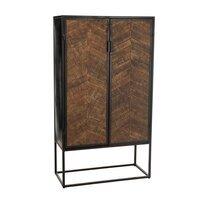 Armoire bar 2 portes 90x42x160,5 cm en manguier et métal