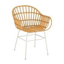 Chaise 58x58x80 cm en rotin naturel et métal blanc