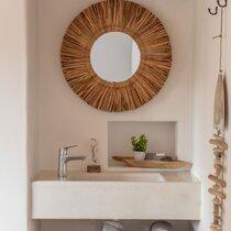 Miroir rond 103 cm en jacinthe d'eau naturelle