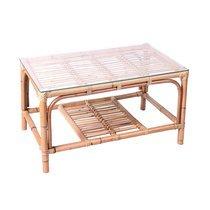 Table basse 81x50x44,5 cm en verre et rotin naturel