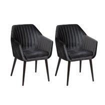Lot de 2 fauteuils repas en tissu noir - BAYO
