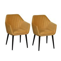 Lot de 2 fauteuils repas en tissu jaune - BAYO