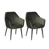 Lot de 2 fauteuils repas en tissu vert foncé - BAYO