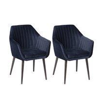 Lot de 2 fauteuils repas en tissu bleu foncé - BAYO