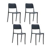 Lot de 4 chaises de jardin 52,5x45x83 cm noires