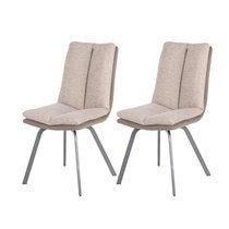 Lot de 2 chaises 47x65x86 cm marron et beige - GALTY