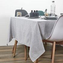 Nappe rectangulaire 250x140 cm en tissu gris clair