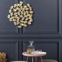 Décoration murale fleurs 48,5 cm en métal doré