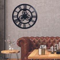Horloge engrenage chiffres romains 70 cm en métal noir