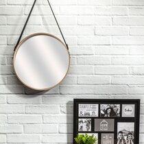 Miroir rond 40 cm avec anse naturel