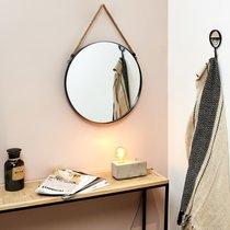 Miroir rond 50 cm en métal noir avec anse en jonc
