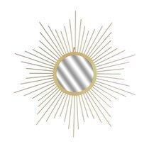 Miroir soleil 66 cm en verre et métal doré