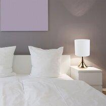 Lampe de table tactile 15x15x32,5 cm en métal blanc et doré