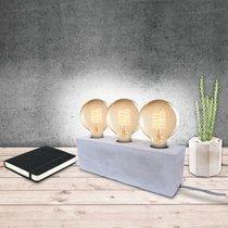 Lampe à poser 3 ampoules 27x7,5x9 cm en ciment gris clair