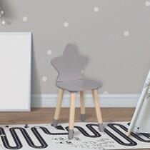 Chaise enfant étoile 28x27x54 cm gris clair et naturel