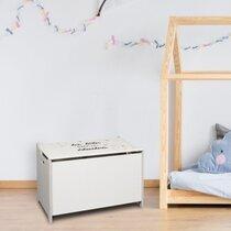Coffre à jouet 60x36,5x39 cm blanc et gris