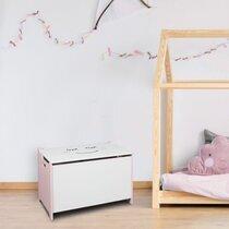 Coffre à jouet 60x36,5x39 cm blanc et rose