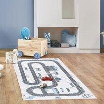 Tapis enfant circuit 70x140 cm en coton gris