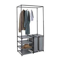 Dressing ouvert 87x43,5x163,5 cm en métal gris et noir