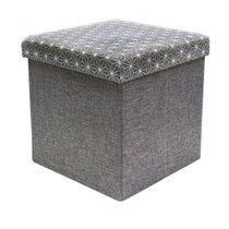 Pouf coffre pliant 37,5x38 cm en tissu gris avec motifs blancs