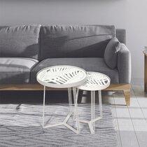 Lot de 2 tables d'appoint ronde 40 et 32 cm en verre et métal blanc