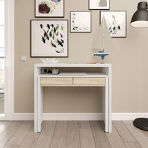 Console bureau 2 tiroirs 99x36x88 cm blanc et chêne