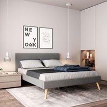 Sommier avec tête de lit 160x200 cm en tissu gris clair