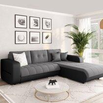 Canapé d'angle à droite convertible en tissu gris et noir - SIRIUS