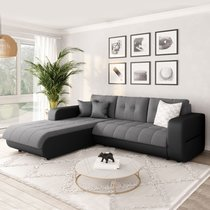 Canapé d'angle à gauche convertible en tissu gris et noir - SIRIUS